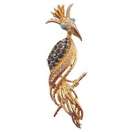 Florenza Crowned 'Bird of Paradise' Brooch - Spectacular