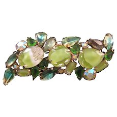 Sinuous Givre Rhinestone Pin with Ribbons of Color