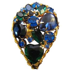 Blue and Green Teardrop Rhinestone Pin
