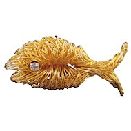 Spun Wire Fish Pendant and Pin - Rhinestone Eye