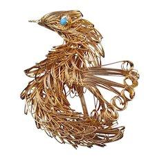 Goldtone Wire Work Figural Bird Pin - Aqua Rhinestone Eyes