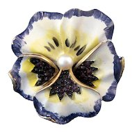 Unsigned Kramer White and Blue Enameled Pansy Pin with Faux Pearl Center