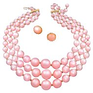 Pink Moonglow Lucite Triple Strand Necklace with Clip Earrings