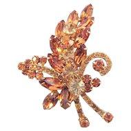 D and E aka 'Juliana' Stylized Leaf Pin in Autumn Toned Rhinestones - Book Reference
