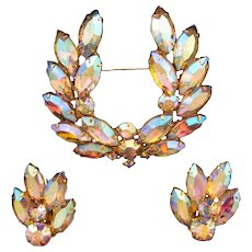 Aurora Borealis Navette 'Laurel Wreath' Rhinestone Pin and Earring Set