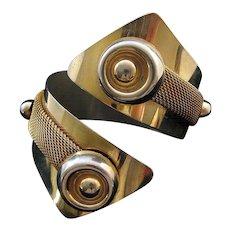 1950s Goldtone Metal and Mesh Wrap Cuff Bracelet