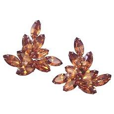 Weiss Autumn Leaf Earrings - Amber Brown Navette Stones