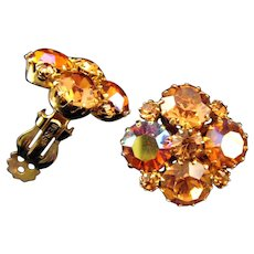 Weiss Glittering AB Coated Amber Color Rhinestone Earrings