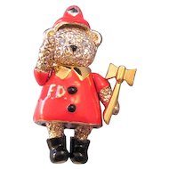 Napier Articulated Figural Fireman Bear - Fire Engine Red Enameling