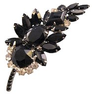 D and E aka 'Juliana' Black and Clear Feather Brooch