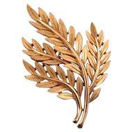 Trifari Textured Goldtone Quadruple Branch Pin