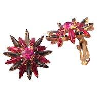 Magenta and Olivine Navette Rhinestone Starburst Earrings