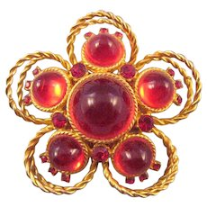 Delizza & Elster Bright Red Cabochon Stylized Flower Pin with Goldtone 'Rope' Loops