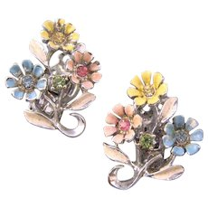 Silvertone Pastel Triple Blossom Earrings
