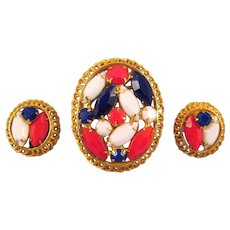 Red White and Blue Rhinestone Brooch and Earrings - July 4th Fun