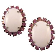 Oval Milk Glass Cabochon Earrings with Pink Rhinestones