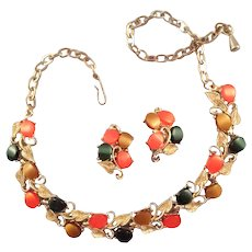 Mid-Century Moonglow Thermoplastic Necklace and Earrings in Autumn Tones
