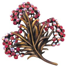 Karu Antiqued Goldtone Red Rhinestone Feathery Flower Brooch