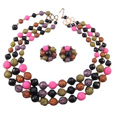 1950s Triple Strand Pink, Black and Gray Plastic Bead Necklace Set - Germany