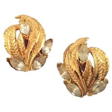 Textured Goldtone 'Flame' Earrings with Navette Rhinestones