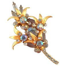 D and E aka Juliana Floral Spray Pin with Blue Aurora Borealis Stones - Book Reference