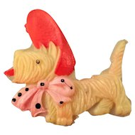 Celluloid Scottie Dog in a Red and Pink Bonnet - Occupied Japan