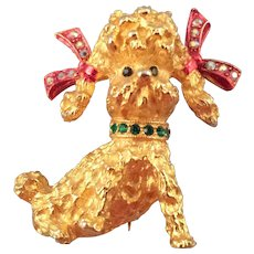 Mylu Goldtone Poodle Brooch with Red Bow Tied Ears