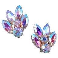 Vintage Flashy Aurora Borealis Navette Earrings