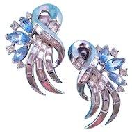 Vintage Trifari Silvertone Rhinestone Swirl Earrings