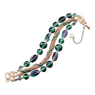 Schiaparelli Green Bead and Wire Mesh Three-Strand Bracelet