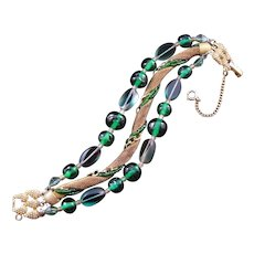 Schiaparelli Green Bead and Wire Mesh Three-Strand Bracelet
