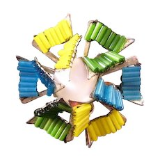 Miriam Haskell Blue Green and Yellow Tube Bead Pinwheel Brooch