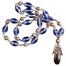 Art Deco Blue Glass Bead necklace with Cobalt Blue Pendant