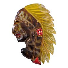 Reverse Carved and Painted Lucite Indian Chief Pin