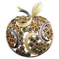 Florenza Green Apple Pin - Enamel and Rhinestones