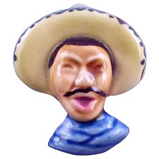 California Pottery Elzac Style Ceramic Mexican Man Brooch