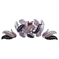 Vintage Enameled Black and White Leaf Link Bracelet and Matching Earrings - in Silvertone