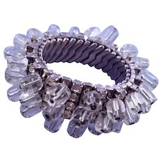 Glitzy Cha Cha Expansion Bracelet with Clear Cut Glass Beads and Rhinestones