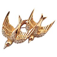 Coro Goldtone 'Heavenly Swallows' Duette - Design Patent and Ad Reference