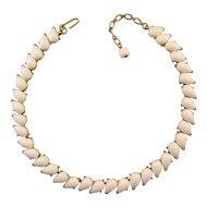 Trifari 1960s White and Goldtone Adjustable Choker Necklace