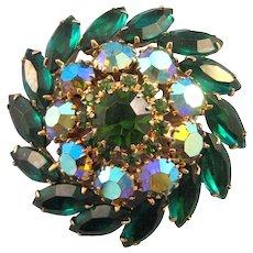 Round Rhinestone Swirl Pin in Shades of Green