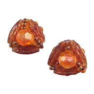 Hobe' Beaded Clip Earrings in Shades of Amber