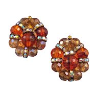 Hobe' Amber-Toned Beaded Earrings with Rhinestone Rondells