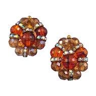 Hobe' Amber-Toned Beaded Earrings with Rhinestone Rondells