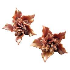 Mauve Satin Plastic 'Pinwheel' Flower Earrings