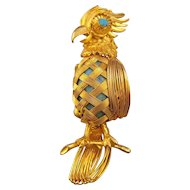 Goldtone Twisted and Woven Wire Parrot Brooch