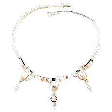 Silvertone Geometric Shapes Necklace