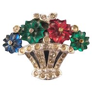 Trifari 'KTF' Pave' Fruit Basket Dress Clip with Three Color 'Fruit Salad' Flowers