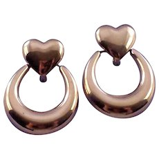 Vintage Monet Heart Shaped Doorknocker Earrings in Goldtone - Special Friction Clip