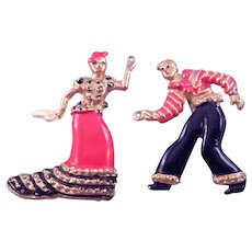 Pair of Spanish Dancer Pins - Man and Woman in Fancy Costumes